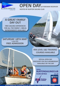 Burton Sailing Club 2013 Open Day Poster